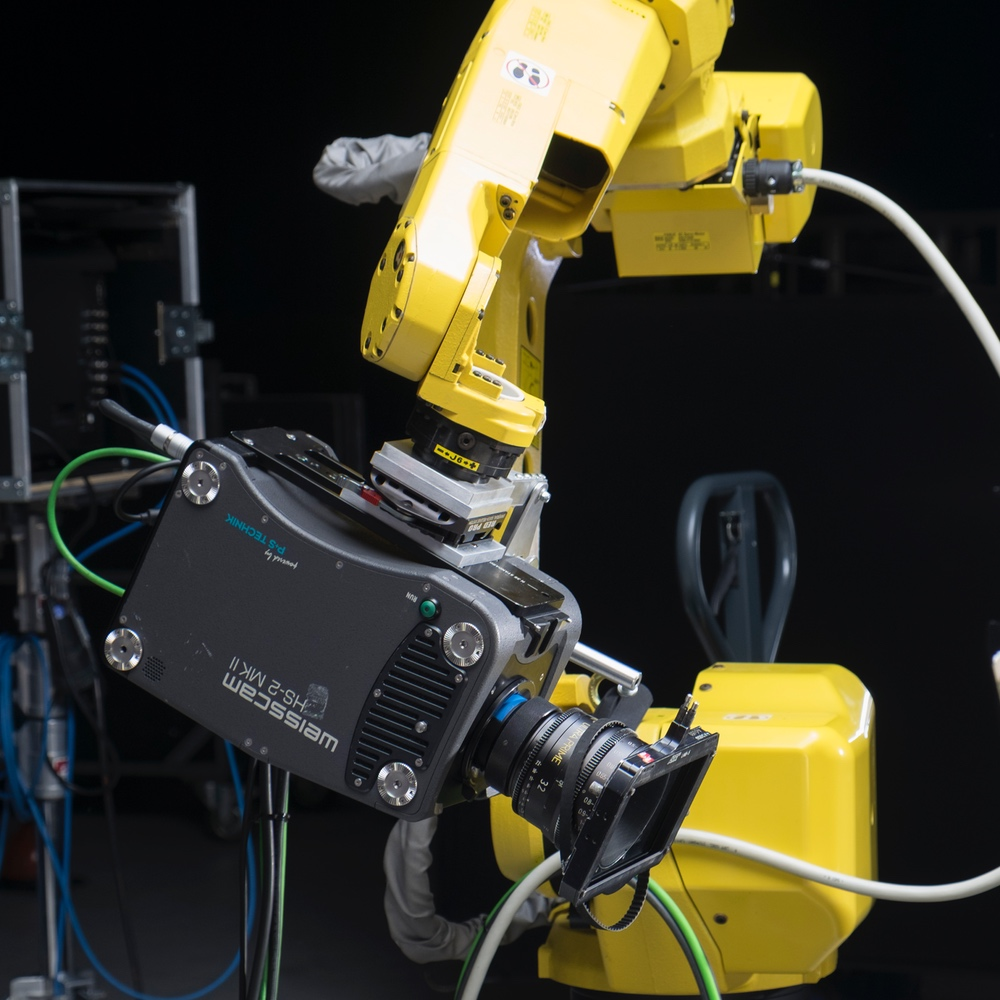 Weisscam HS2 highspeed camera attached on a robotic arm